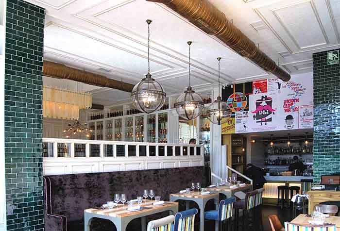 Lámparas de techo colgantes vintage en Restaurante La Canica de Campo de las Naciones