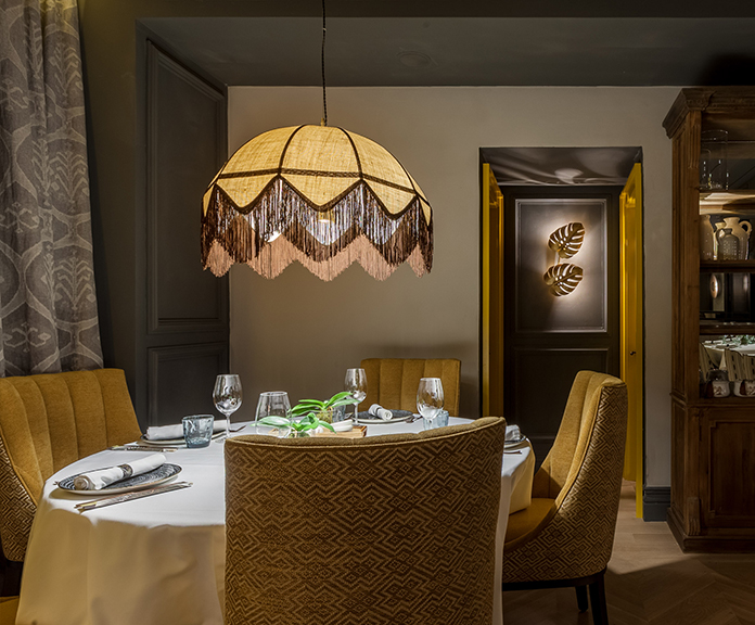 Lámparas colgantes en en Restaurante Paulina de Madrid
