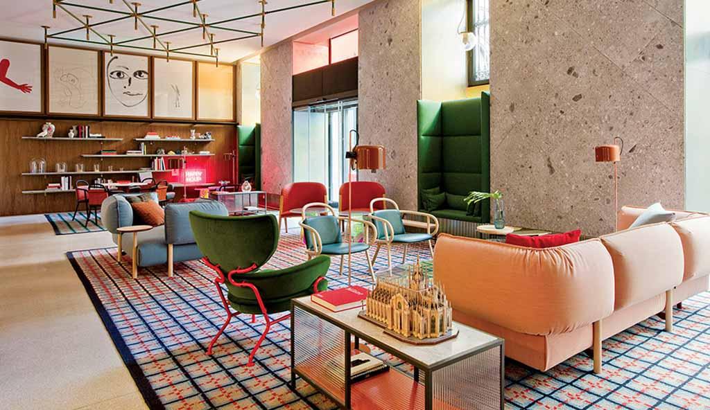 lobby diseño hotel room mate giuilia